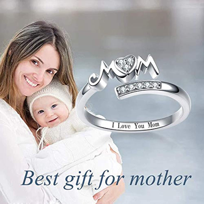 925 Sterling Silver Mom Rings Mothers Ring Women Jewelry for Mom