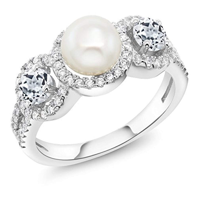 925 Sterling Silver Cultured Freshwater Pearl and White Topaz Women Ring for 30th Wedding Anniversary(1.46 Ct Round, Available 5,6,7,8,9)