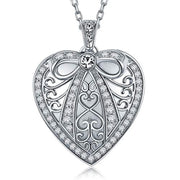 Locket Pendant Necklace with Sterling Silver 18 inch Chain Butterfly Knot on Heart Design Tiny Cubic Zirconia Inlayed Handcraft Pendant for Girls and Women