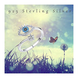Evil Eye Ring S925 Sterling Silver Mom Gifts Silver/Rose Gold Adjustable Wrap Open Rings Jewelry for Women Teens