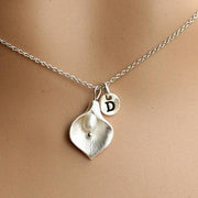 Calla Lily Necklace, abs pearl, Personalized Initial Monogram Necklace, silver necklace, Bridesmaid Jewelry, Weddings