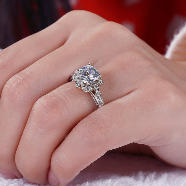 Vintage Floral Cushion Cut Sterling Silver Ring