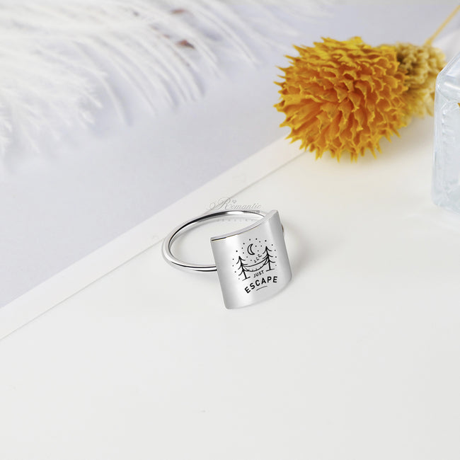 S925 Sterling Silver Be Free Adventure Awaits Find Your Wild Just Escape Ring Inspirational Ring