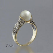 Fashion Vintage Pearl Ring 925 Silver Bride Wedding Engagement Rings BFL