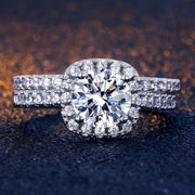 2ps/set Princess 925 Silver Round Cut AAA Zircon Diamond Bride Engagement Wedding Rings Set