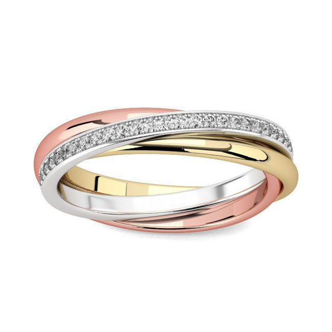 Three Tone Round Cut 925 Sterling Silver Women's Band