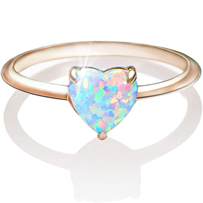Solid Lab Created Opal Rings Heart Shaped S925 Sterling Silver Ring Birthday Gift