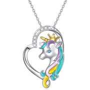 925 Sterling Silver Rainbow Unirocn Necklace 'Forever Love Unicorn in Heart' Pendant Necklace for Women