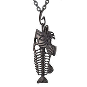 Fish Pendant Animal Jewelry Men Boys Necklace with 925 Sterling Silver Chain