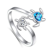 S925 Sterling Silver Turtle Animal Open Ring Sea Turtle Heart CZ Adjustable Bypass Nature Ocean Ring