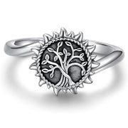 925 Sterling Silver Urn Necklace Ring For Ashes Sunshine Cremation Keepsake Pendant Family Tree Of Life Ashes Jewelry