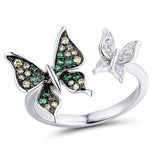 925 Silver Butterfly Ring Green Zircon Ring