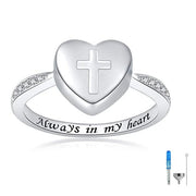 925 Sterling Silver Cross Urn Finger Ring for Women Always in My Heart Keepsake Memorial Cremation Jewelry urns Rings for Ashes