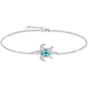 Blue Sea Turtle Bracelet/Anklet Sterling Silver Bracelets Jewelry for Women Gifts