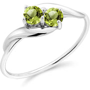 Gem Stone King 10K White Gold Green Peridot Women Ring for Anniversary (0.41 Ct Round, Gemstone Birthstone, Available in size 5, 6, 7, 8, 9)