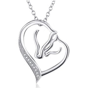925 Sterling Silver Mom Horse Heart Pendant Necklace Christmas Day Jewelry Gift for Women