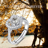 925 Sterling Silver I Love You 100 Language Heart Ring Engagement Ring for Women Couple, Open Rings Size 7