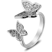Double Rhinestone Butterfly Finger Rings Open Adjustable Ring for Women