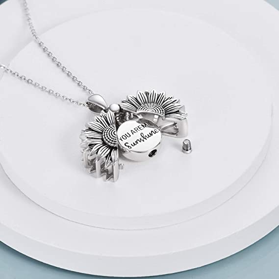 Sterling Silver Sunflower Urn Necklace for Ashes You are My Sunshine Pendant Cremation Jewelry for Ashes of Loved Ones Keepsake