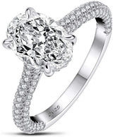 925 Sterling Silver Engagement Rings for Women Cubic Zirconia Promise Halo Wedding Rings
