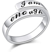 925 Sterling Silver Ring I am Enough Adjustable Rings for Women Girls