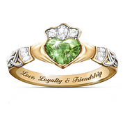 Irish Claddagh Ring With Cubic Zirconia Heart