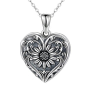 925 Sterling Silver Vintage Sunflower Locket Necklace, Photo Picture Locket Necklace, Heart-shaped Locket Necklace for Women