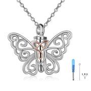 Butterfly Urn Necklace for Ashes 925 Sterling Silver Celtic Knot Butterfly Pendant Cremation Keepsake Necklace for Women Jewelry