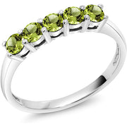 Gem Stone King 0.60 Ct Round Green Peridot 10K White Gold 5 Stone Anniversary Band Ring for Anniversary