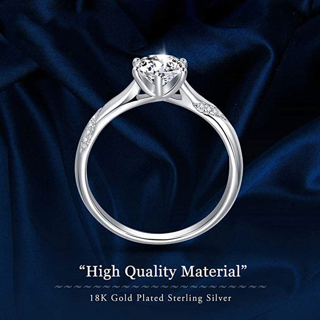 Stunning Flame Solitaire Engagement Ring White Gold Plated Sterling Silver Cubic Zirconia Wedding for Women | Excellent Cut, D Color, FL Clarity & Exquisite Polish