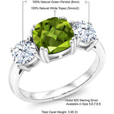 925 Sterling Silver Green Peridot Meghan Ring for Anniversary(3.95 Ct Cushion, Gemstone Birthstone)