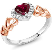 Heart Shape Red Created Ruby/Green Peridot 925 Sterling Silver Ring