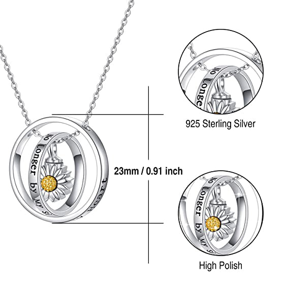 Cremation Jewelry 925 Sterling Silver Sunflower Rose Paw Urn Necklace for Ashes Memorial Keepsake Gifts for Women