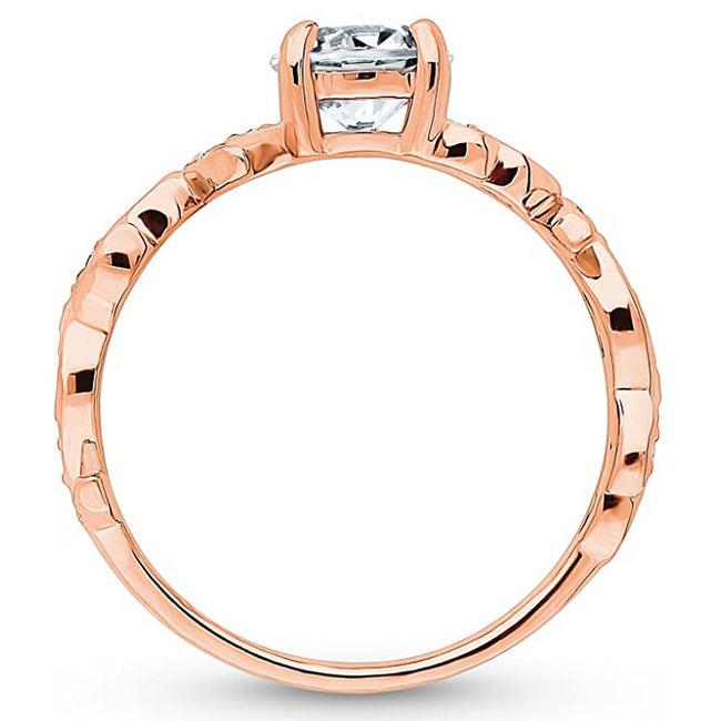 Rose Gold Plated Sterling Silver Round Cubic Zirconia CZ Solitaire Leaf Filigree Promise Engagement Ring 0.9 CTW