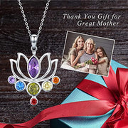 925 Sterling Silver Chakra Necklace Healing Crystals Pendant Necklace Jewelry Birthday Gifts for Women