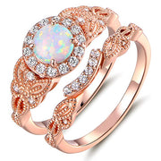 925 sterling silver Created White Opal & Cubic Zirconia Engagement Ring Set