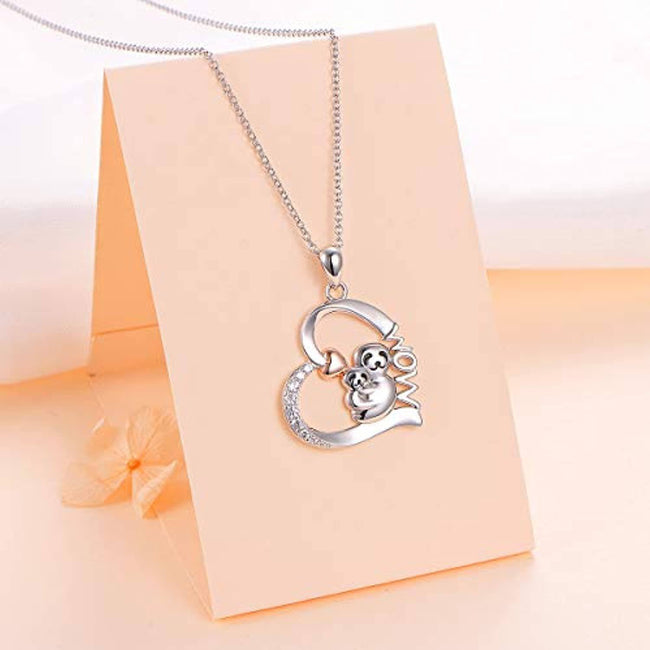 925 Sterling Silver Cute Animal Sloth Heart Pendant Necklace Gift for Women Teen Girls