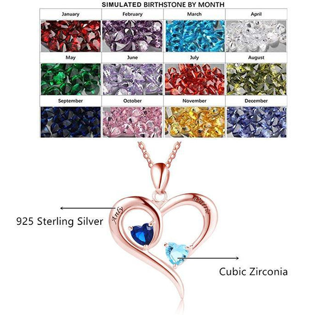925 Sterling Silver Engraved Name with 2 Heart Simulated Birthstone Necklace for Women Mother Couples Sterling Silver Necklace MissNity