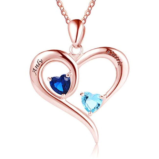 925 Sterling Silver Engraved Name with 2 Heart Simulated Birthstone Necklace for Women Mother Couples Sterling Silver Necklace MissNity Rose gold - Cable chain