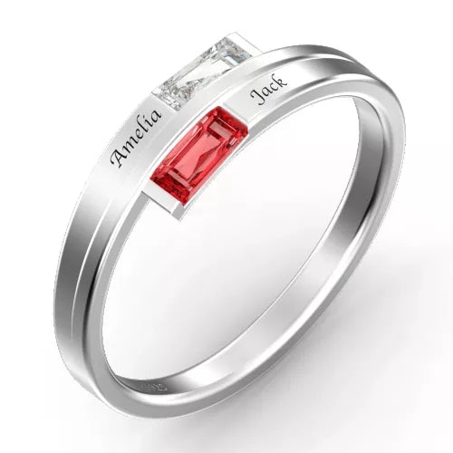 Personalized Birthstone Double Baguette Bypass Promise Ring With Engraving Silver