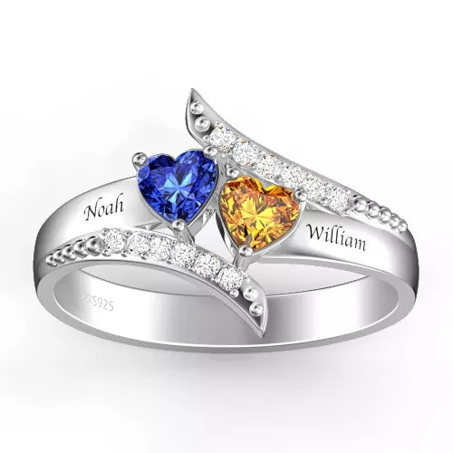 Engraved Double Heart Birthstone Promise Ring Silver