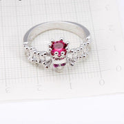 Classic 925 Sterling SilverSkull Skeleton Finger Ring for Women Men PinkStone Hollow Jewelry Halloween Party Gifts