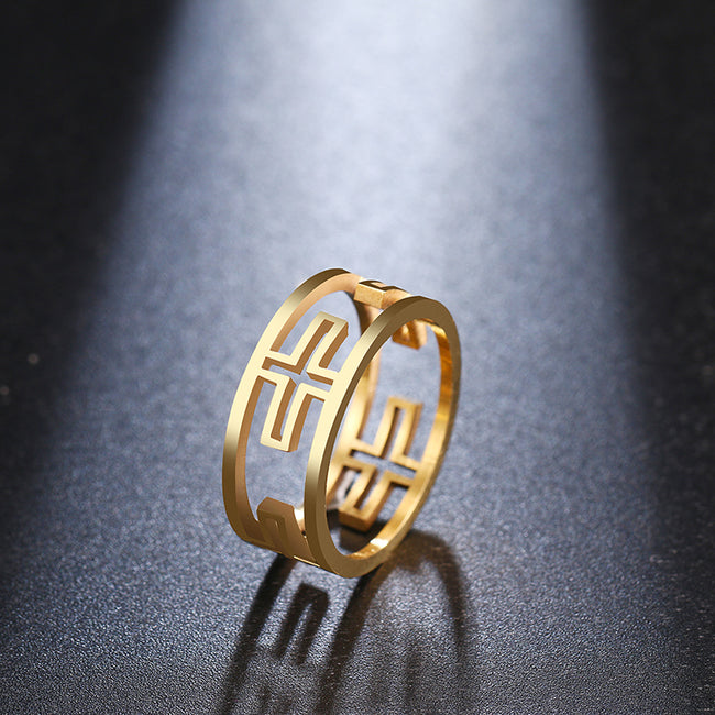 For Women Ring Personality Hollow Cross Design 925 Silver Gold and Silver Color Jewelry Gift