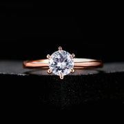 6 Claw 1 Carat Cubic Zirconia Wedding/Engagement rings For Women Rose Gold Color Women's Ring Jewelry