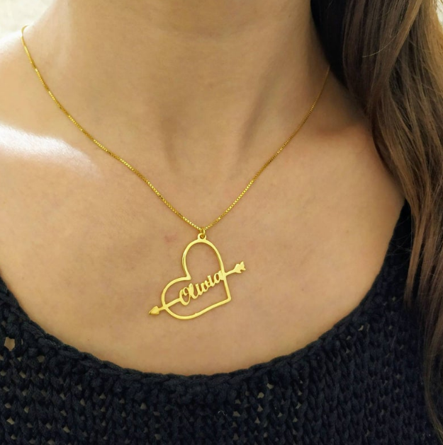 925 silver Gold Plated Heart And Arrow - Custom Name Necklace - Arrow Through The Heart Pendant