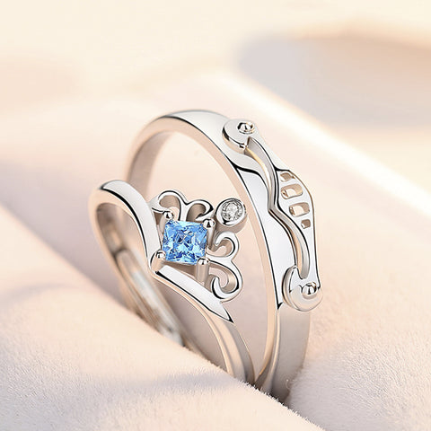925 Sterling Silver Princess and knight Couple Ring