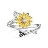 925 Sterling Silver Sunflower CZ Adjustable Ring