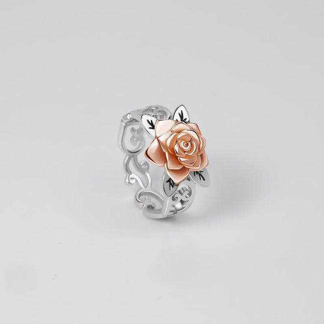 Exquisite Floral Ring Solid 925 Silver Flower Jewelry Proposal Anniversary Gift Engagement  For Women