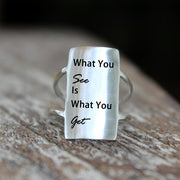 925 Silver What You See Is What You Get Ring Positive Energy Sentence Ring Inspirational Ring