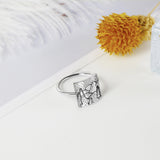 S925 Sterling Silver Sunrise Ring Nature Camping Ring Gift for Outdoor Lover